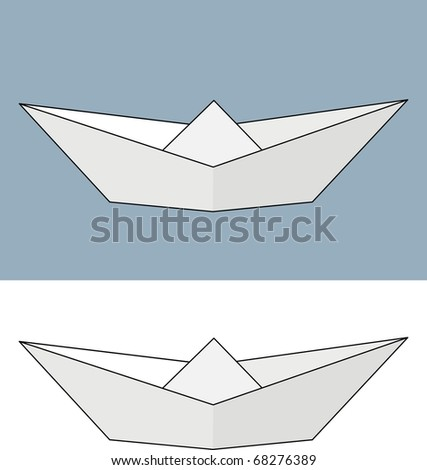 Vector paper ship. Origami. Isolated illustration on white or gray background.