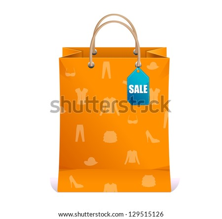 Vector paper shopping bag isolated on white - stock vector