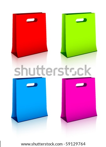 vector paper shopping bags - stock vector