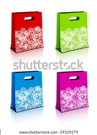 vector paper shopping bags with christmas snowflakes - stock vector