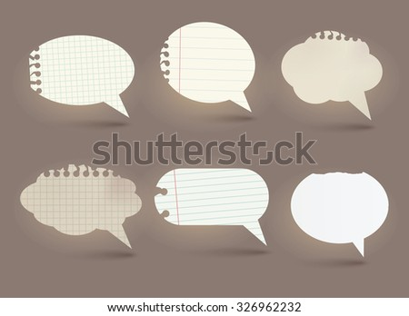 Vector paper speech bubbles set.