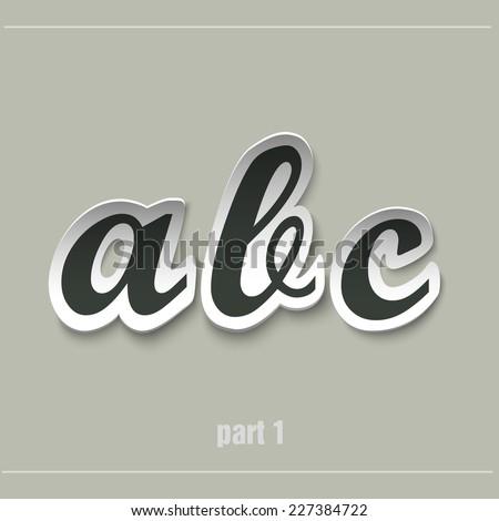 vector paper uppercase alphabet with shadows ABC - stock vector