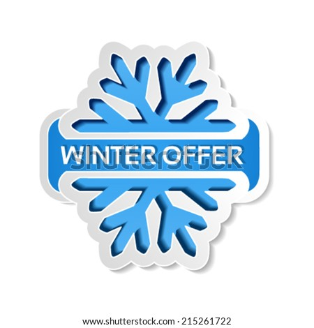 Vector paper winter offer symbol, blue sticker on the white background - Christmas sale label with snowflake  - stock vector