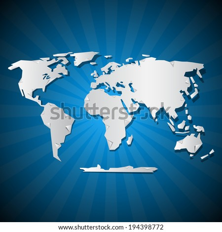 Vector Paper World Map Illustration on Blue Background