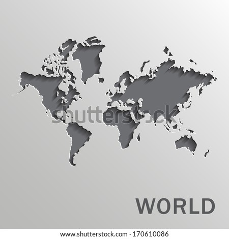Vector paper world map on a white background