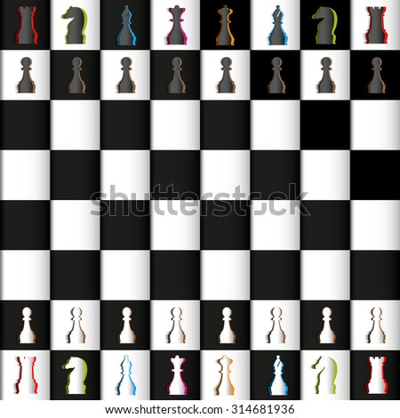 Vector Papercut Chess Figures on board, black and white. Illustration - stock vector