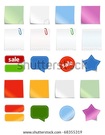 Vector papers and stickers - stock vector