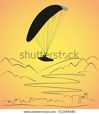 Vector Paragliding active sport background. Paragliding vector illustration. Paraplane vector illustration. Free fly paragliding sports vector illustration.  Paragliding  black silhouette. - stock vector