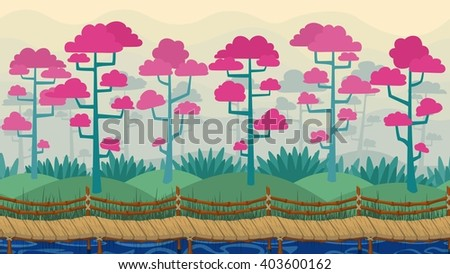 Vector parallax background. Spring landscape with fog, blooming trees and wooden seamless bridge. - stock vector