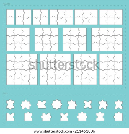 Vector parts of paper jigsaw puzzle set - stock vector