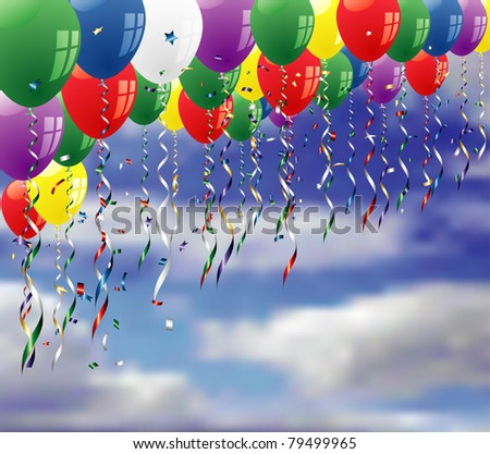 vector party background with confetti and balloons on sky - stock vector