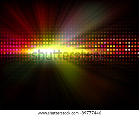 Vector party background with  led display background and light - rays - stock vector