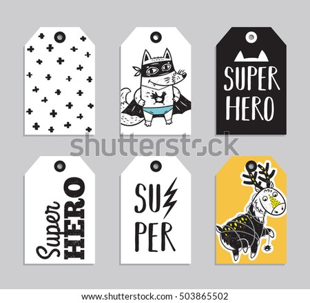 Vector party badge design. Collection of six Super Hero cute ready to use gift tags. Set of 6 printable hand drawn party label with fox and deer