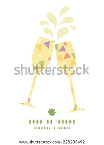 Vector party decorations bunting toasting wine glasses silhouettes pattern frame