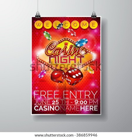 Vector Party Flyer design on a Casino theme with chips and dices on red background. Eps 10 illustration. - stock vector