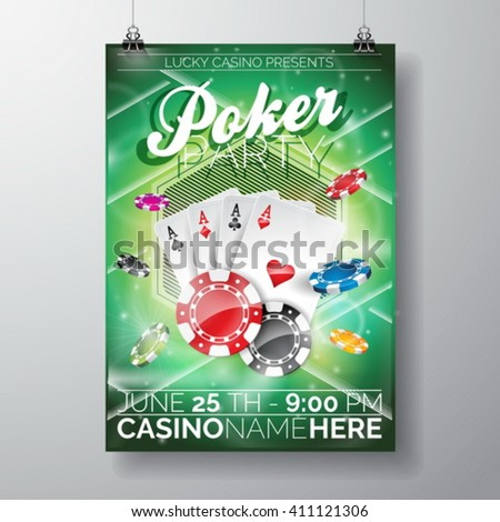 Vector Party Flyer design on a Casino theme with chips and game cards on green background. Eps 10 illustration. - stock vector