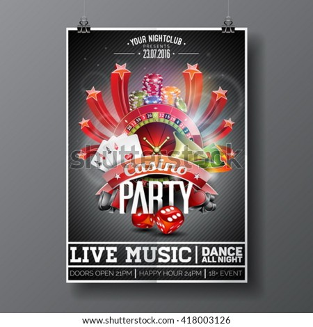 Vector Party Flyer design on a Casino theme with roulette wheel and game cards on dark background. Eps 10 illustration. - stock vector