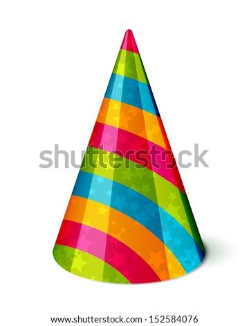 Vector Party hat with stripes and stars on white - stock vector