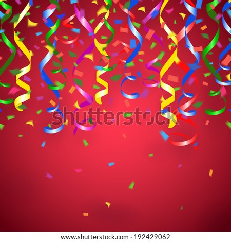 Vector party streamers and confetti red background - stock vector