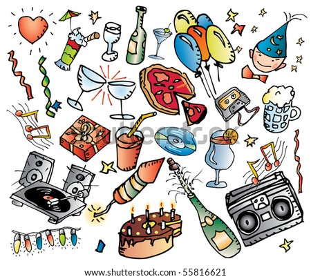 vector party wallpaper, grouped and fully editable - stock vector