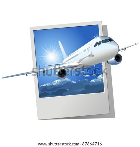 Vector passenger airliner. - stock vector