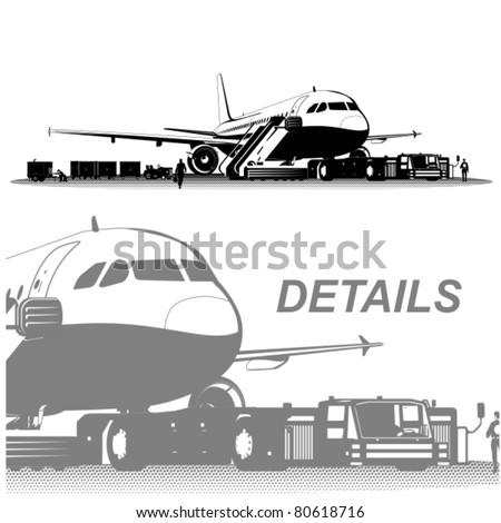 Vector passenger airliner - stock vector