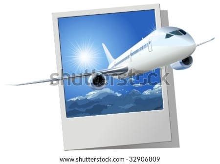 Vector passenger airliner. More vector airplanes illustrations see in my portfolio. - stock vector