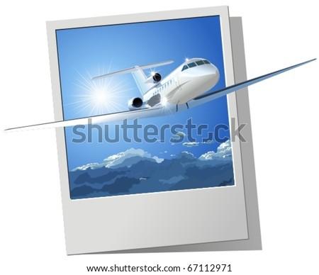 Vector passenger airplane - stock vector