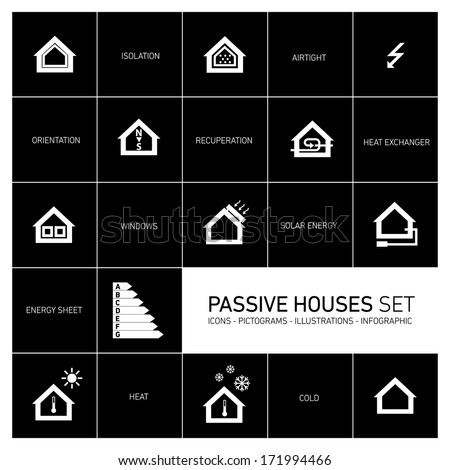 Vector passive houses icons and pictograms icon set  - stock vector