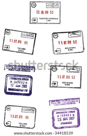 VECTOR Passport travel stamps. - stock vector