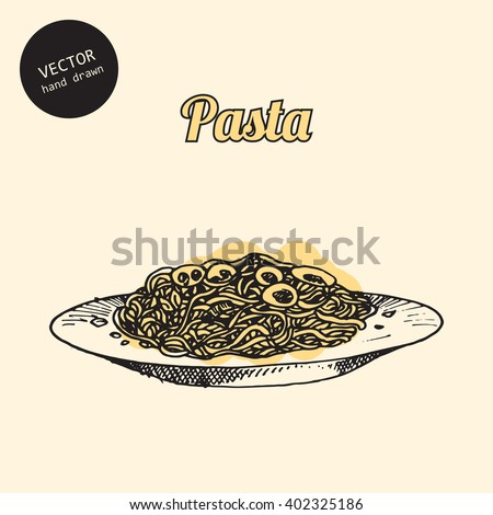 Vector pasta. Background consist of colored plate and pasta. Sketch art style.  - stock vector