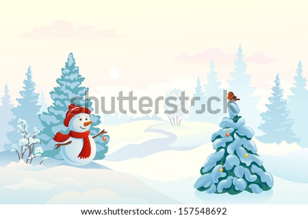 Vector pastel colored illustration of a cute snow man decorating a fir tree in a misty morning wood - stock vector