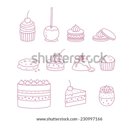 Vector Pastry flat minimalistic line icon set - stock vector