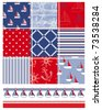 Vector patchwork nautical patterns.  Use to create quilting patches or seamless backgrounds for various craft projects. - stock