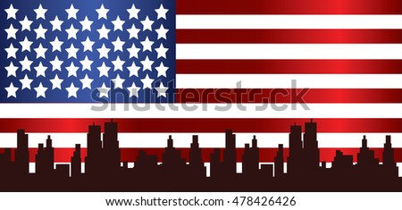Vector Patriot Day, with usa flag and city buildings silhouette.