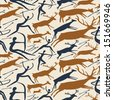 Vector pattern about hunting with primitive figures - stock photo