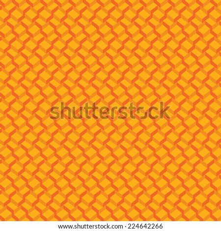 Vector pattern  background. 3-D wallpaper with repetition geometric shape. Gradation orange cubes in perspective. Vector illustration clip-art web design elements  - stock vector
