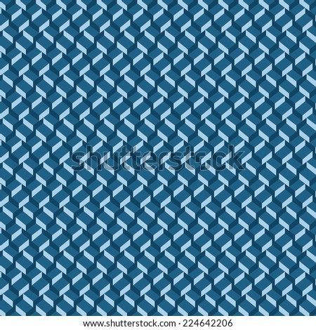 Vector pattern  background. 3-D wallpaper with repetition geometric shape. Gradient dark blue cubes in perspective. Vector illustration clip-art web design elements  - stock vector