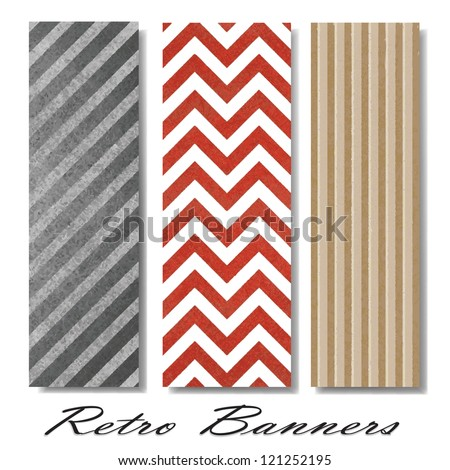 vector pattern background swatches or side bar banners for web template or brochure with vintage grunge background texture layout, zig zag pattern background, chevron retro lines, diagonal monochrome