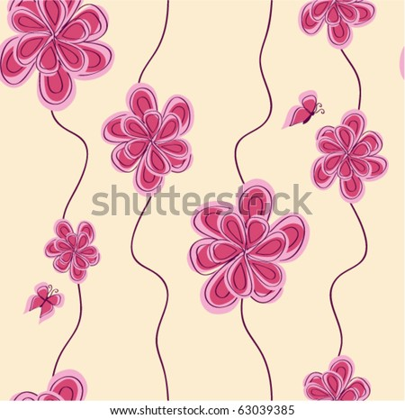 vector pattern background with abstract pink flower - stock vector