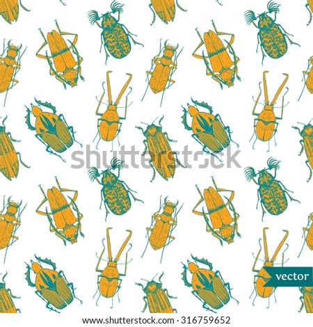 vector pattern beetles, line drawing pen, bright wallpaper on white background