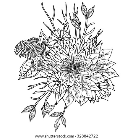 Vector pattern for coloring book. Ethnic retro design in zentangle style with floral elements, Black line art on white background. - stock vector