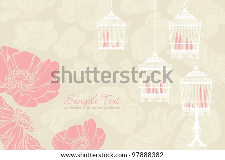 Vector pattern for wedding with birdcage - stock vector