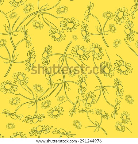 Vector pattern illustration shown linearly daisies on yellow background