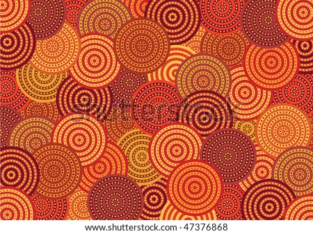 Vector pattern including ethnic Australian motive with multicolored typical elements - stock vector