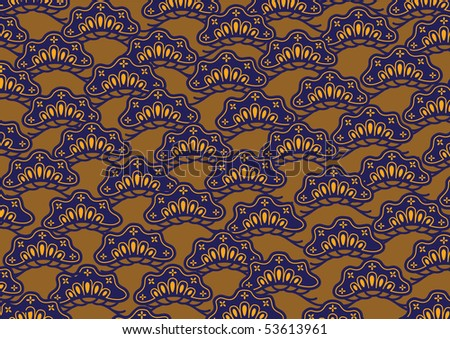 Vector pattern including ethnic Japan motif with multicolored typical elements - stock vector