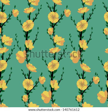 vector pattern of branches with flower and green leaves - stock vector