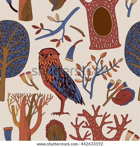 Vector pattern of cute wild owl in the forest. Vintage card. for web, graphic design and textile.