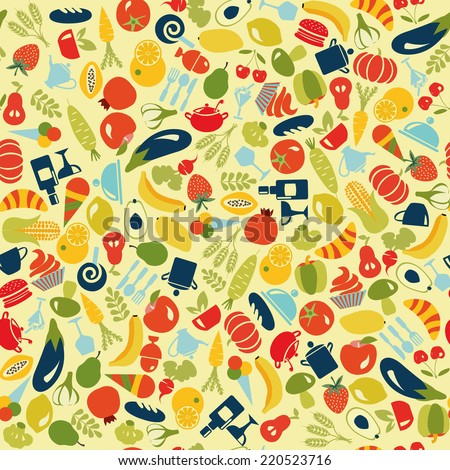 Vector pattern  of  Fruits and Vegetables food and beverages seamless background - Illustration - stock vector