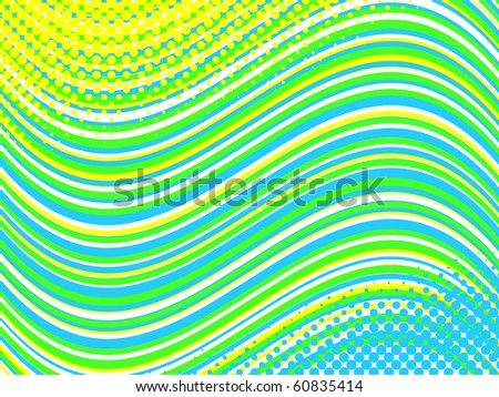 vector pattern of horizontal curved lines with halftone  elements - stock vector